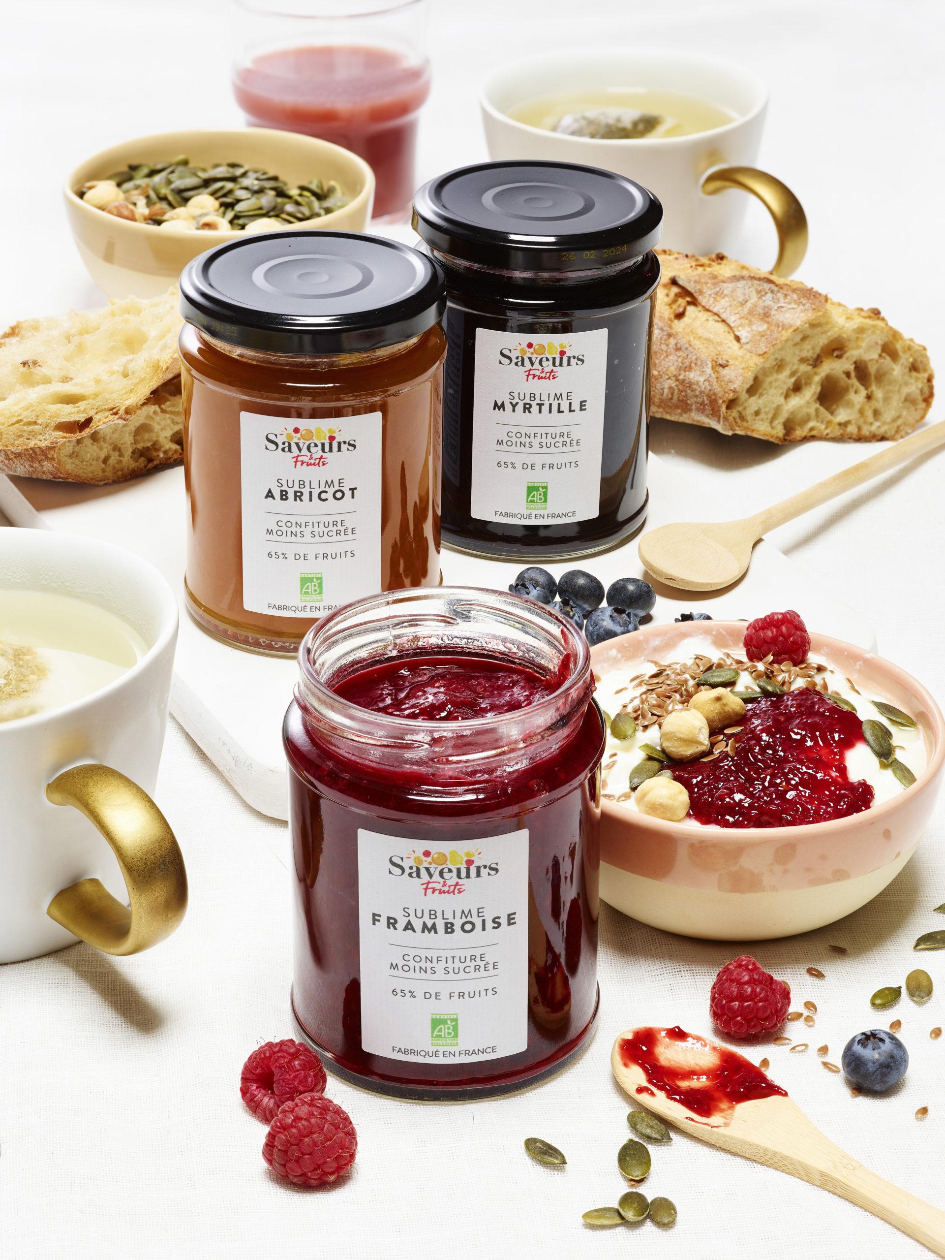 Confitures Bio framboise, abricot et myrtille de chez Saveurs & Fruits